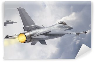 Vinil Duvar Resmi F-16 Fighting Falcon jetleri (modeller) bulutların üzerinden uçmak