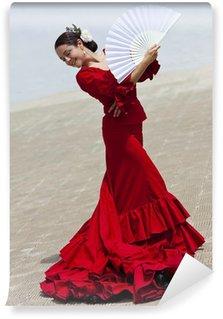 Vinil Duvar Resmi Fan ile Red Dress Geleneksel Kadın İspanyol Flamenko Dansçısı