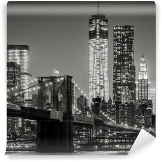 Vinil Duvar Resmi Gece New York. Brooklyn Köprüsü, Aşağı Manhattan - Siyah bir