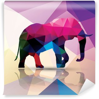 Vinil Duvar Resmi Geometrik çokgen fil, desen tasarımı, vektör