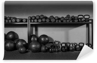 Vinil Duvar Resmi Girya ve dambıl ağırlık eğitim spor
