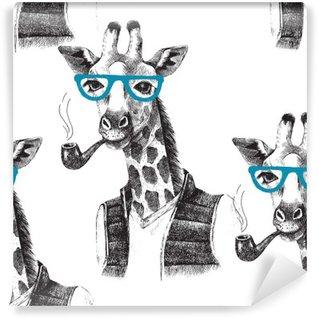 Vinil Duvar Resmi Giyinmiş zürafa hipster ile sorunsuz desen