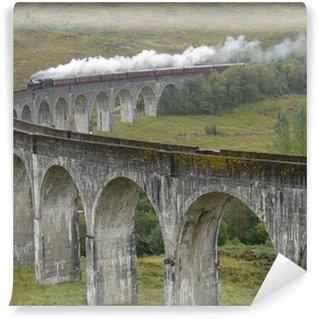 Vinil Duvar Resmi Glenfinnan Viyadüğü üzerinde tren. İskoçya.