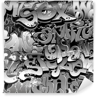 Vinil Duvar Resmi Graffiti seamless background. Kentsel Sanat doku