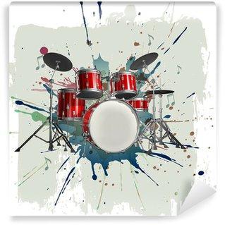 Vinil Duvar Resmi Grunge arka plan üzerinde Drum kit
