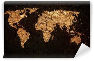 Vinil Duvar Resmi Grunge arka plan üzerinde dünya haritası