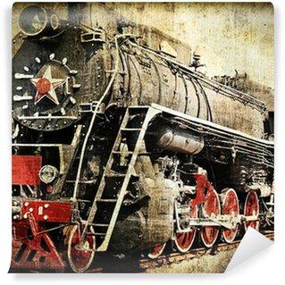 Vinil Duvar Resmi Grunge buharlı lokomotif