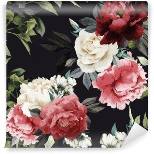 Vinil Duvar Resmi Gül, suluboya ile Seamless floral pattern. vektör illustrat