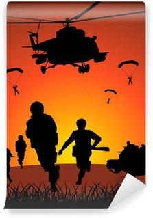 Vinil Duvar Resmi Günbatımı karşı askeri eylem