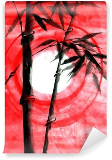 Vinil Duvar Resmi Günbatımı Suluboya mürekkep Japanise bambu