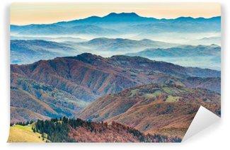 Vinil Duvar Resmi Güzel mavi dağlar ve tepeler