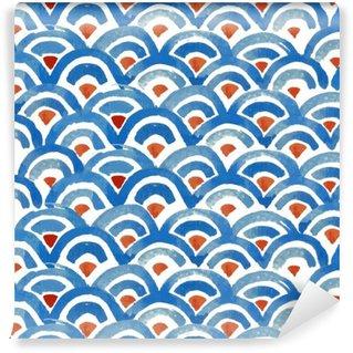 Vinil Duvar Resmi Japon balığı cilt seamless pattern.