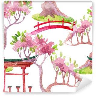 Vinil Duvar Resmi Japon sorunsuz desen