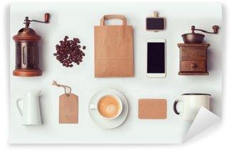 Vinil Duvar Resmi Kahve dükkanı kimlik tasarımı marka için şablon hazırlayın. Yukarıdaki görüntüleyin. düz yatıyordu