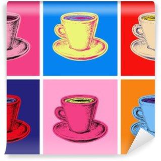 Vinil Duvar Resmi Kahve fincanı vektör çizim pop art tarzı set