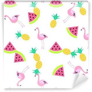 Vinil Duvar Resmi Karpuz, flamingo ve ananas ile tropik yaz kesintisiz beyaz desen. Pembe ve sarı eğlenceli desen.