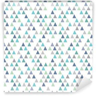 Vinil Duvar Resmi Kesintisiz yenilikçi geometrik desen aqua mavi üçgenler