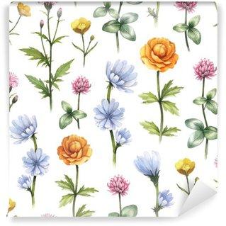 Vinil Duvar Resmi Kır çiçekleri illüstrasyon. Suluboya sorunsuz desen