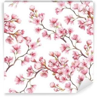 Vinil Duvar Resmi Kiraz çiçekleri ile sorunsuz desen. Suluboya resimde.