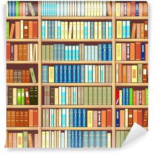 Vinil Duvar Resmi Kitap dolu bir kitaplık