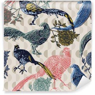 Vinil Duvar Resmi Kuşlar ve çiçekler, moda desen ile Vintage background