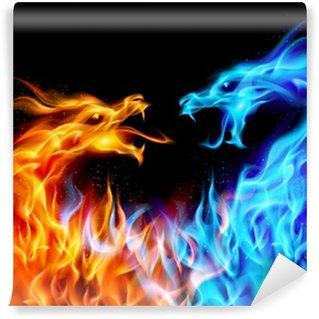Vinil Duvar Resmi Mavi ve kırmızı yangın Dragons