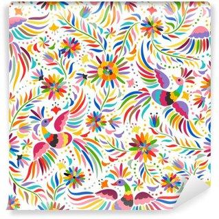 Vinil Duvar Resmi Meksika nakış seamless pattern. Renkli ve süslü etnik desen. Kuşlar ve çiçekler arka plan ışık. Parlak etnik takı ile floral background.