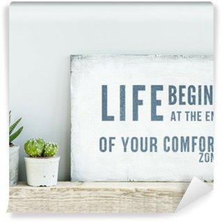 Vinil Duvar Resmi Motivasyonel afiş alıntı YAŞAM Comfort Zone SONUNDA BAŞLIYOR