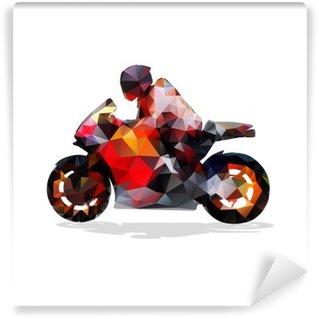 Vinil Duvar Resmi Motorsiklet, soyut geometrik vektör siluet. Motosiklet binmek