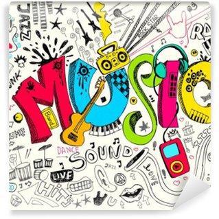 Vinil Duvar Resmi Müzik Doodle