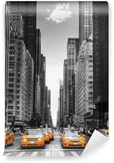 Vinil Duvar Resmi New York'ta taksi ile cadde.