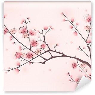 Vinil Duvar Resmi Oryantal tarzı boyama, ilkbaharda kiraz çiçeği