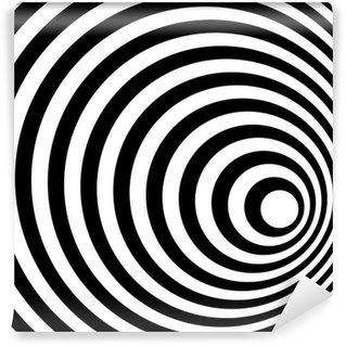 Vinil Duvar Resmi Özet Halka Spiral Siyah ve Beyaz Desen Arka Plan.