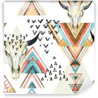 Vinil Duvar Resmi Özet suluboya hayvan kafatası ve geometrik süsleme seamless pattern.