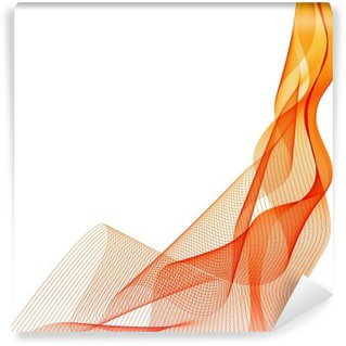 Vinil Duvar Resmi Özet vektör turuncu dalga dikey arka plan hatları