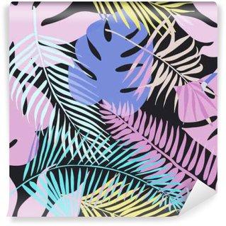 Vinil Duvar Resmi Palmiye yeşil yaprakları ile tropik egzotik çiçekler ve bitkiler.