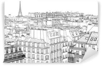 Vinil Duvar Resmi Paris'te çatılar