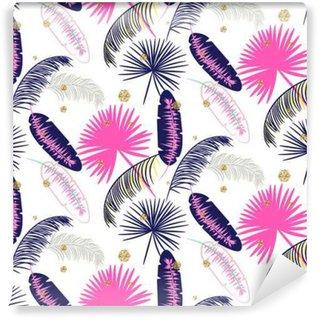 Vinil Duvar Resmi Pembe ve mavi muz palmiye beyaz arka plan üzerinde sorunsuz vektör desen bırakır. Tropikal muz orman yaprağı. Glitter nokta.