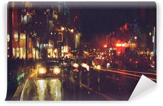 Vinil Duvar Resmi Renkli ışıkları ile gece sokak boyama