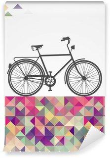 Vinil Duvar Resmi Retro hipsters bisiklet geometrik unsurlar.