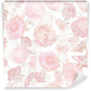 Vinil Duvar Resmi Romantik Yumuşak Vektör Çiçek Desen