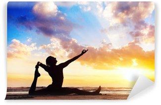 Vinil Duvar Resmi Sahilde Yoga