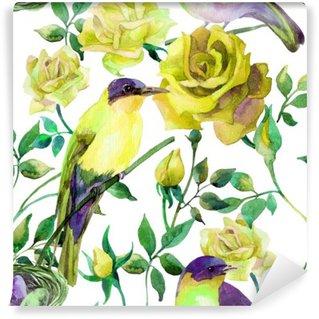 Vinil Duvar Resmi Sarı gül Suluboya kuşlar