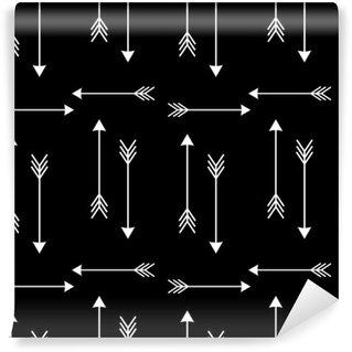 Vinil Duvar Resmi Siyah arka plan sorunsuz vektör desen illustration__ beyaz oklar