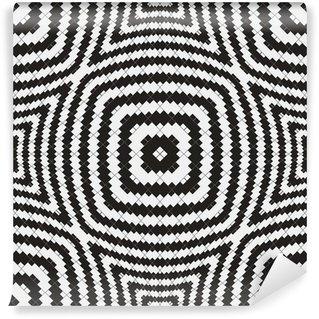Vinil Duvar Resmi Siyah ve Beyaz Optik İllüzyon, Vektör Dikişsiz Desen.