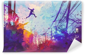 Vinil Duvar Resmi Soyut grunge ile şehrin çatıda atlama adam, illüstrasyon boyama