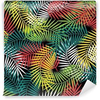 Vinil Duvar Resmi Stilize Hindistan cevizi palmiye yaprakları ile sorunsuz tropikal desen.