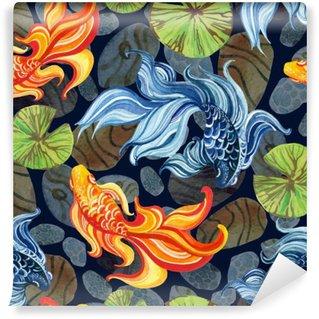 Vinil Duvar Resmi Suluboya Asya goldfishes