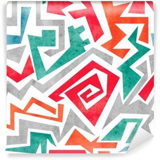 Vinil Duvar Resmi Suluboya grafiti, kırmızı, turuncu ve mavi renklerde renkli dikişsiz desen. Vektör geometrik arka plan.