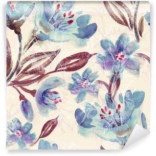 Vinil Duvar Resmi Suluboya Mavi Çiçekler Dikişsiz Desen